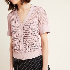 Byron Lars Beauty Mark Cardi Laser Cut Blouse
